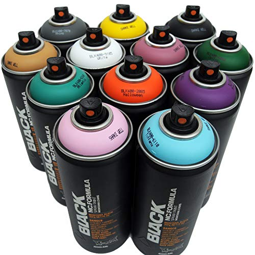 Montana BLACK 400ml Complementary Colors Set of 12 Graffiti Street Art Mural Spray Paint