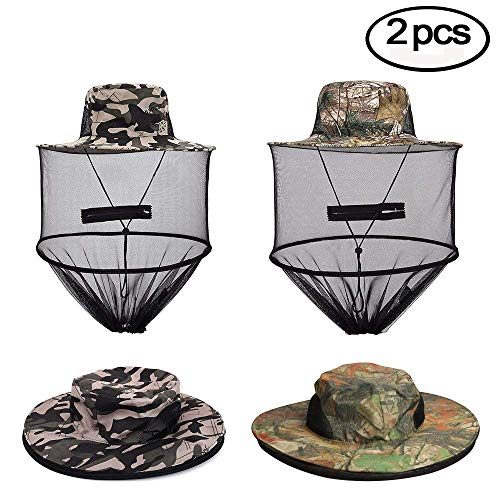 VIPITH 2 Pack Mosquito Head Net Hat