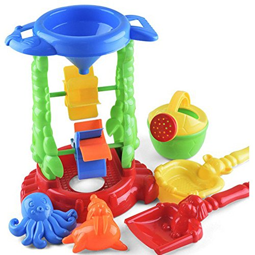 Beach Toys Children Sand and Water Wheel Watering Can Shower Shovels Sand-Sift Sand Models with Crayfish Dolphin Octopus Sea Lions Crab Fish Plastic Molds and Color in - Dolphin Mall Hours