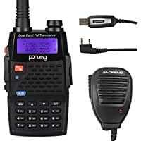 Baofeng Pofung BF-F9+TP Tri-Power 8/4/1W Two-Way Radio Transceiver, Dual Band UHF/VHF 136-174/400-520MHz True 8W High Power Two-Way Radio + 1 Programming Cable + 1 Remote Speaker Included