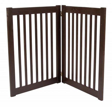 32'' Highlander - 2 Panel Free Standing Wood Pet Gate - Artisan Bronze by Dynamic Accents