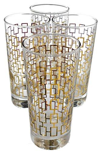 Links Highball - Set of 12 Art Deco Gold Chain Link Cooler Highball Glasses