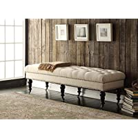 62 INCH LARGE End Of Bed Seat Entryway Furniture Bench Wood Upholstered Tufted Wheeled Fabric