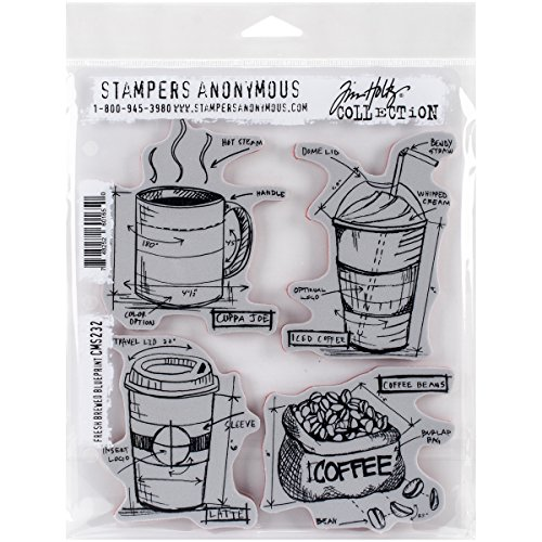 Stampers Anonymous Tim Holtz Cling Rubber Fresh Brewed Blueprint Stamp Set, 7 x 8.5 by Stampers Anonymous