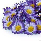 100pcs Artificial Gerbera Daisy Silk Flowers Heads for Diy Wedding Party (Purple Gradient)