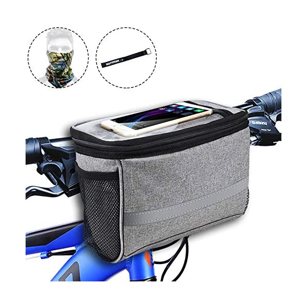 MattiSam Bike Handlebar Bag, Bike Basket with | Mesh Pocket – Cold & Warm Insulation – Reflective Strap – Touchable Transparent Phone Pouch | Bicycle Front Bag, Bike Pouch for Cycling, Women, Cruisers