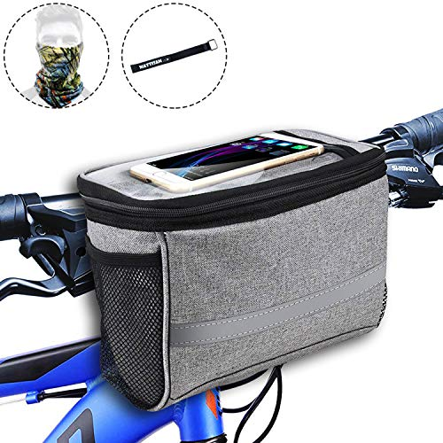Bike Handlebar Bag, Bike Basket with | 2 Mesh Pockets - Cold & Warm Insulation - Reflective Stripe - Touchable Transparent Phone Pouch | Bicycle Front Bag, Bike Pouch for Cycling, Women, Cruisers ()