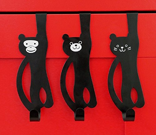 - Funnuf Monkey Bear Cat Animal Over The Door Hook Hanger Draw Organizer for Home, Office & Closet Storage Black