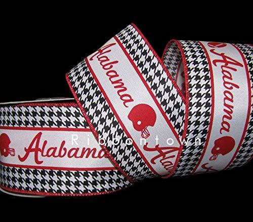 Ribbon Art Craft Decoration 10 Yards Alabama Football Helmet Red Black Houndstooth Wired Ribbon 2 1/2