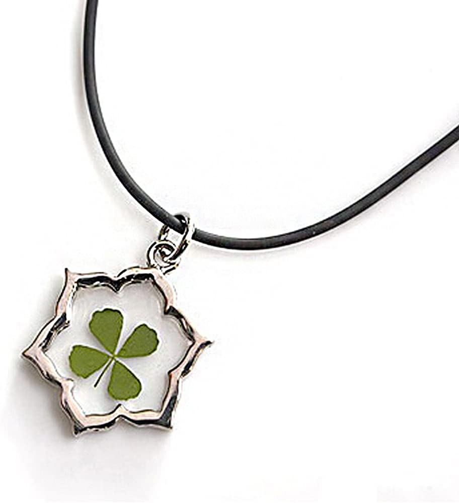 """Black Cord Real Irish Four Leaf Clover Good Luck Symbol Clear Flower Shaped Pendant Necklace, 16-18"""""""