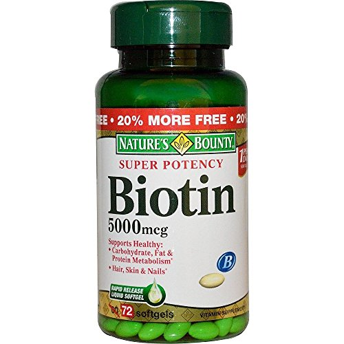 Natures Bounty Biotin 5000 MCG, 72 Count (6 Pack) by Nature's Bounty