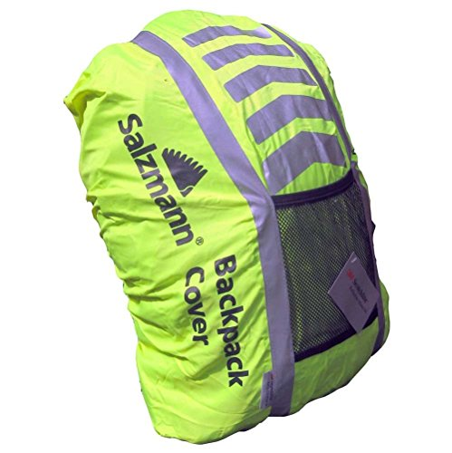 Salzmann High Viz 3M Scotchlite Waterproof Backpack Rucksack Bag Rain Cover for Cycling or Running [ YELLOW ]
