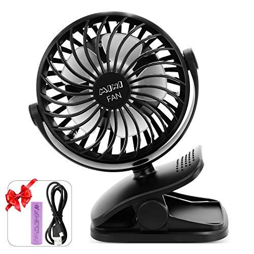 ESEOE Clip on Fan, USB Or 2600mAh Rechargeable Battery Operated Fan Small Desk Fan with 4 Speeds, 360 Degree Rotation Portable Stroller Fan for Baby S (Black)