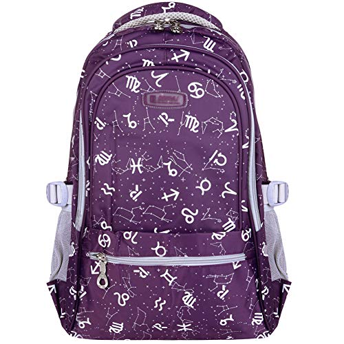 Vbiger Girl's & Boy's Backpack for Middle School Cute Bookbag Outdoor Daypack (Purple 2)