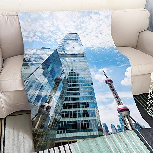 (BEICICI Art Design Photos Cool Quilt The Oriental Pearl TV Tower and Skyscraper Fashion Ultra Cozy Flannel Blanket)