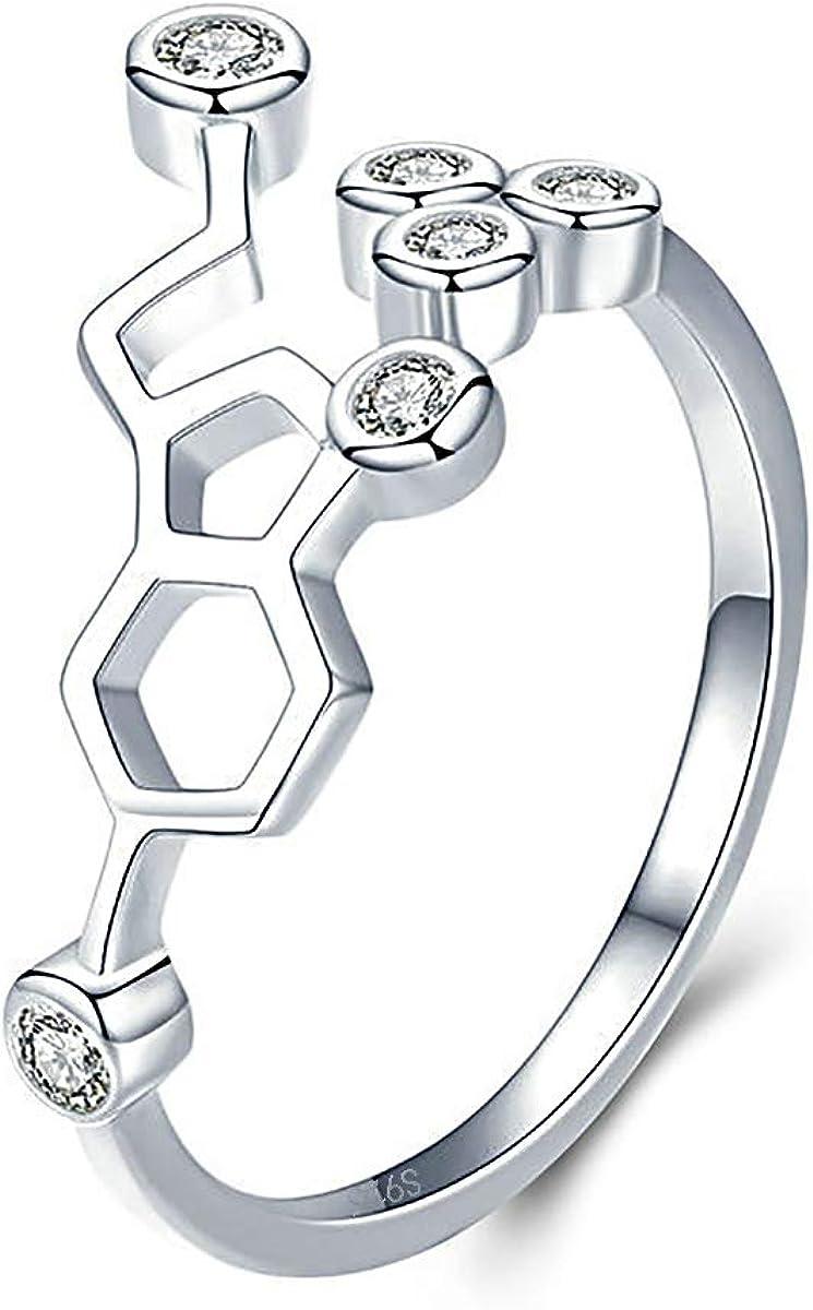 BriLove Women 925 Sterling Silver Crystal Happy Serotonin Adjustable Statement Ring