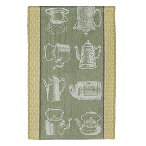 COUCKE French Cotton Jacquard Towel, Jeu de Theires (Tea), 20-Inches by 30-Inches, Green and Black - Jacquard Tea Towels