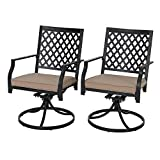 PHI VILLA Outdoor Patio Metal Swivel Dining Chair fits Garden Backyard Rocker Chairs Furniture - Set of 2