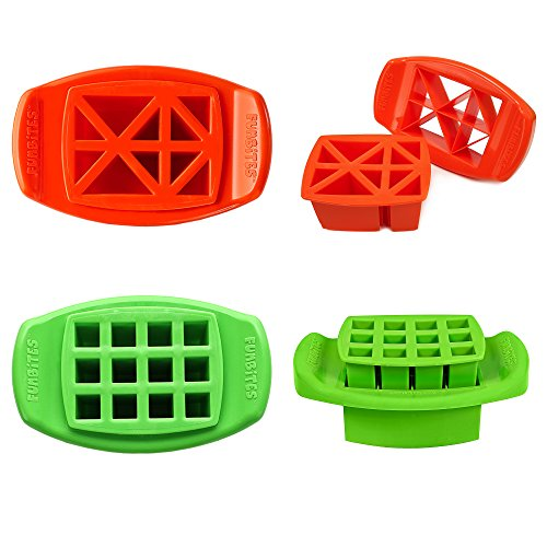 FunBites, Food Cutter Set Creates Bite-sized Shapes Kids Can't Resist - Set of 2 (Green Squares / Orange Triangles)