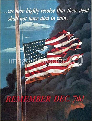 AGS - Remember December 7th Vintage World War II Two WW2 WWII USA Military Propaganda Poster - 24x36