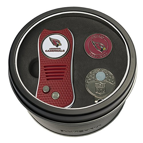 Team Golf NFL Arizona Cardinals Gift Set Switchblade Divot Tool, Cap Clip, & 2 Double-Sided Enamel Ball Markers, Patented Design, Less Damage to Greens, Switchblade Mechanism