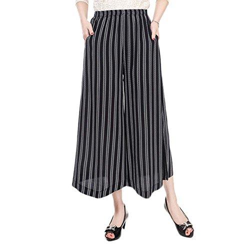 NJunicorn Uncle Womens Comfy Elastic Waist Cotton&Linen Floral Culottes Wide Leg Pants(29 XL) from NJunicorn Uncle
