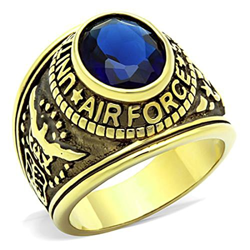 Drop of Silver Stainless US Air Force USAF Military Ring Gold Plated with Blue Stone, Size 11