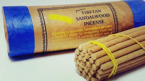 (Sandalwood Incense - Traditional Tibetan Style - 30 Sticks and Holder)