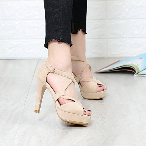 The Spring Sexy Toe MDRW Lady Instep Beige Fine Strap Work Cross Leisure 11Cm Waterproof With Sandals Heels Elegant 35 ZZpqIY