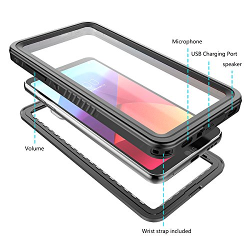LG G6 Wasserfeste Hülle, FindaGift Ultra dünn IP68 Waterproof Stoßfest Schneefest Unter Wasser Ganzkörperschutz Cover mit Auftrieb Lanyard für LG G6 (Schwarz)