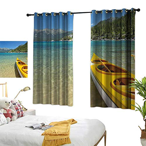 Linen Curtains Lake Tahoe,Extreme Sports in Wild Lakeside Places Scenic Activities,Turquoise Sky Blue Lime Green 84