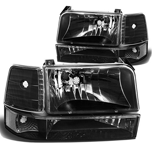 For Ford F-150 Bronco 5th Gen 6-PC Black Housing Clear Corner Headlight Lamp Replacement - 96 Ford F350 Corner Light