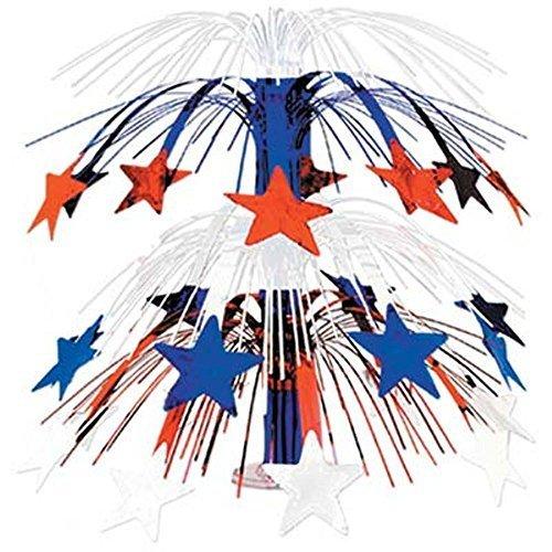 (Beistle 50553-RWB Red White Blue Star Cascade Centerpiece,)