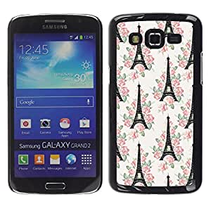 LECELL--Funda protectora / Cubierta / Piel For Samsung Galaxy Grand 2 SM-G7102 SM-G7105 -- Tower Paris France Europe Floral White --