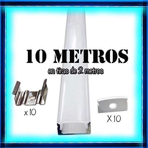 Perfil de aluminio para LED tira con difusor opaco PACK 10 metros con soporte de montaje: Amazon.es: Iluminación