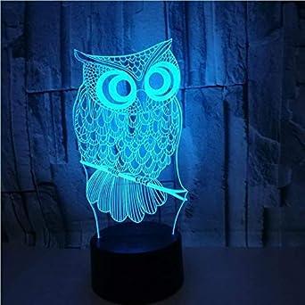Lámpara de pared creativa 3D LED base de luz nocturna cambio de luz sensible al tacto interruptor de escritorio ilusión búho decoración 7 colores regalo creativa familia