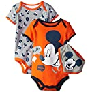 Disney Baby-Boys Mickey Mouse Bodysuit and Bib, Gray, 0-3 Months (Pack of 3)