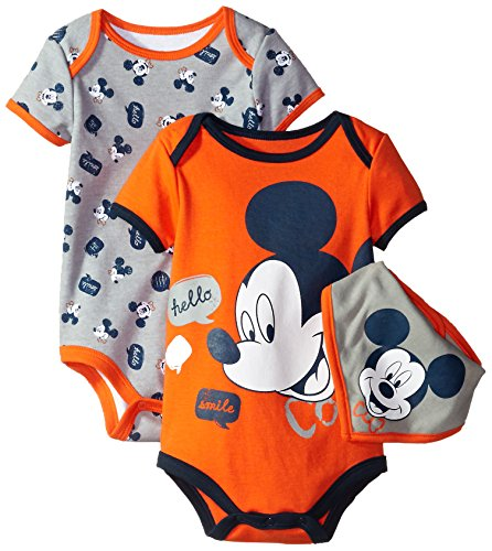 Disney Baby-Boys Mickey Mouse Bodysuit and Bib, Gray, 24 Months (Pack of 3)