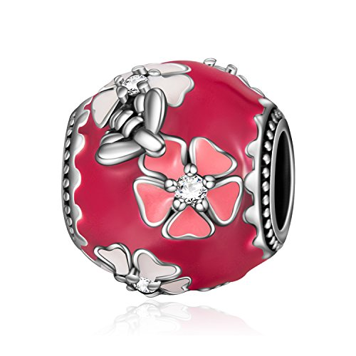 LONAGO Peach Plum Blossom Flower Charm 925 Sterling Silver Enamel Bead with Cubic Zirconias for Wife Girlfriend (Plum Blossom)