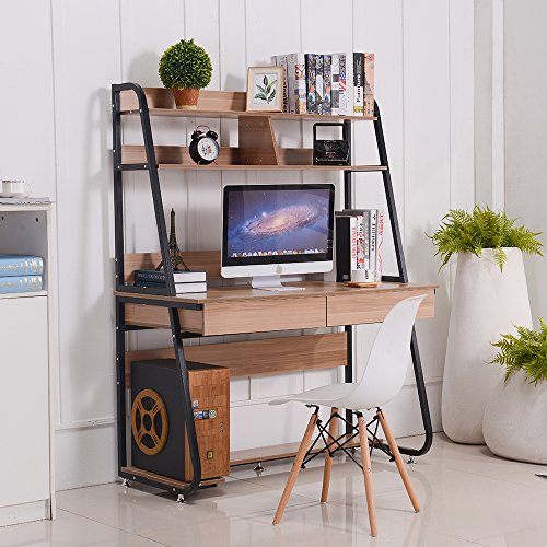 (Emall Life Multi-Functional Computer Desk with Bookshelf and Drawers Home Office PC Laptop Study Table (Black Shelf and Light Walnut))