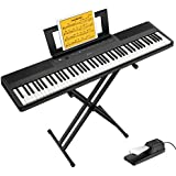 Donner DEP-45 88 Key Semi Weighted Keyboard Portable Digital Piano with Stand  Sustain Pedal  20W Built in Speakers  10 Premium Voices  Headphone Output  Bluetooth MIDI Beginner Electric Keyboard