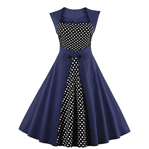 Retro L Blau Vintage EU Kleid DISSA Rockabilly Cocktail 50er Damen M1336 40 SqOBwOgZ