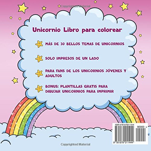 Unicornio Libro para colorear para niños y adultos + BONO: Plantillas gratis para dibujar unicornios (PDF para imprimir) (Spanish Edition): Libros Para ...