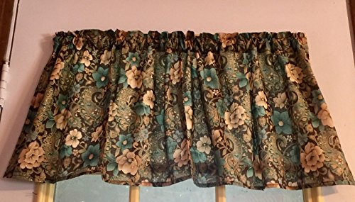 Gold Metallic Floral Paisley on Brown Cotton Window Curtain Valance handmade 42