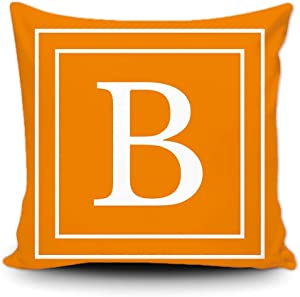 SVITFAMLI Orange Pillow Cover with White Letter Monogram B and Stripes English Alphabet Initial Decorative Square Throw Cushion Case for Bed Sofa Couch 18 X 18 Inch Pillowcase, Double Sided Print