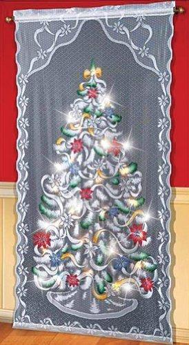 ETC Lighted Christmas Tree Curtain Panel, White, Multi, 40