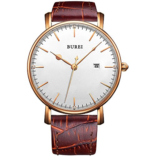 BUREI Mens Business Dress Quartz Watches with White Dial Date Calendar Mineral Crystal Leather Straps