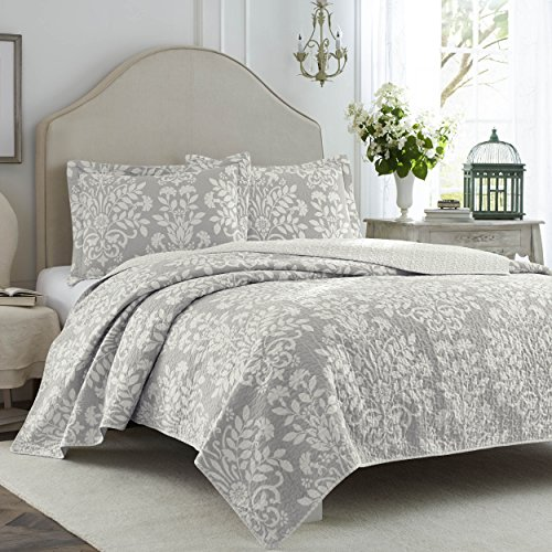 (Laura Ashley Rowland Gray Quilt Set Full/Queen)