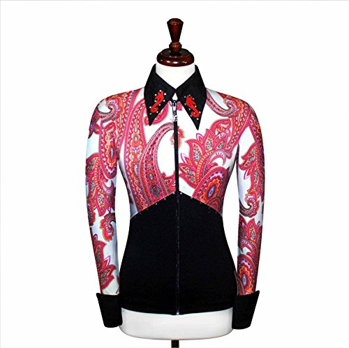 White Show Jacket - JC Apparel Toby's Western Equestrian Horse Riding Wear White and Black [V5] Shirt Jacket Rodeo Queen Rail Horsemanship Showmanship Pleasure Rails Showtime Outfit W/Appliques [9] (Small)