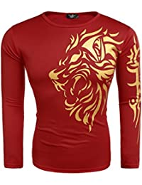 Modfine Men's Fall Hipster Long Sleeve Print Golden lion Casual T-Shirt